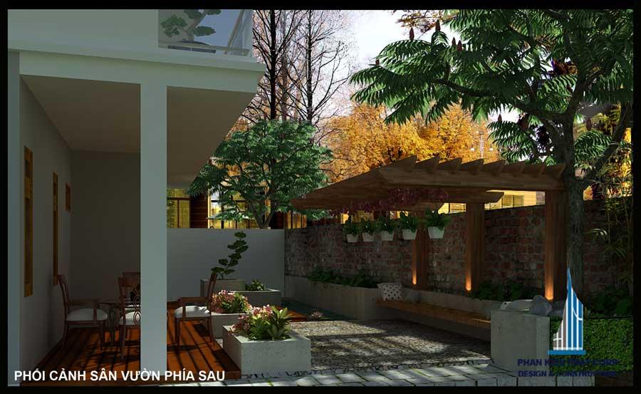 Nhà 2 tầng mái xéo - Sân vườn sau góc 1