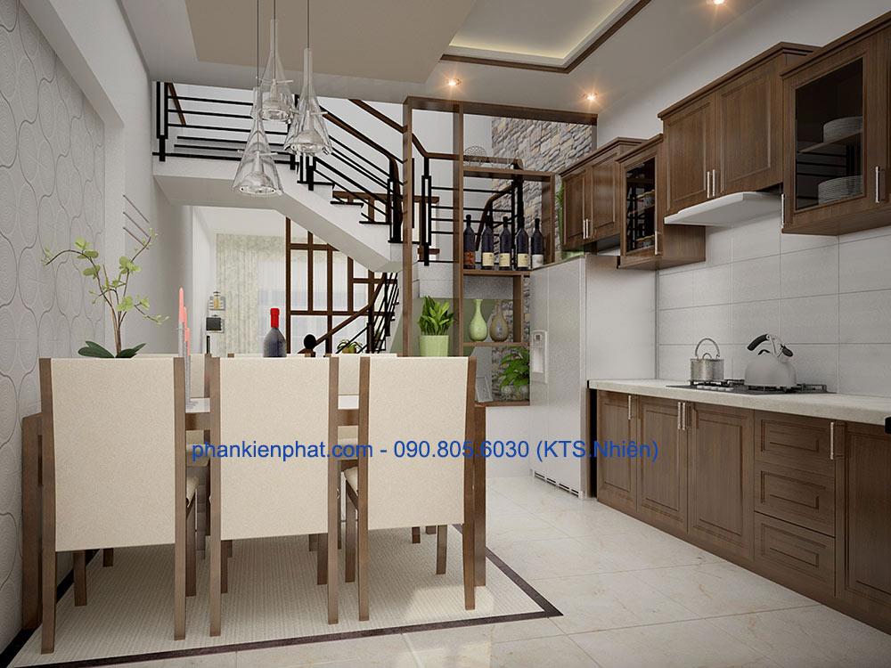 Phòng bếp view 1 nhà phố 3 tầng 4x14.5m thông tầng