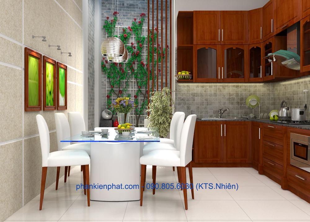Phòng bếp view 1 của bản vẽ thiết kế nhà ống 4 tầng