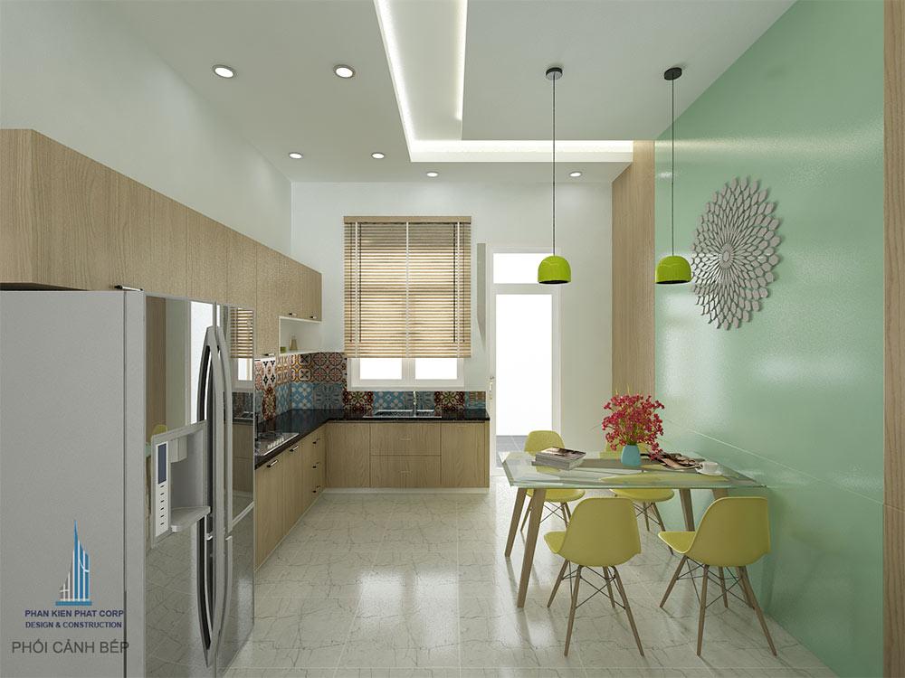 Phòng bếp view 1 của mẫu nhà đẹp 4 tầng 4x15m