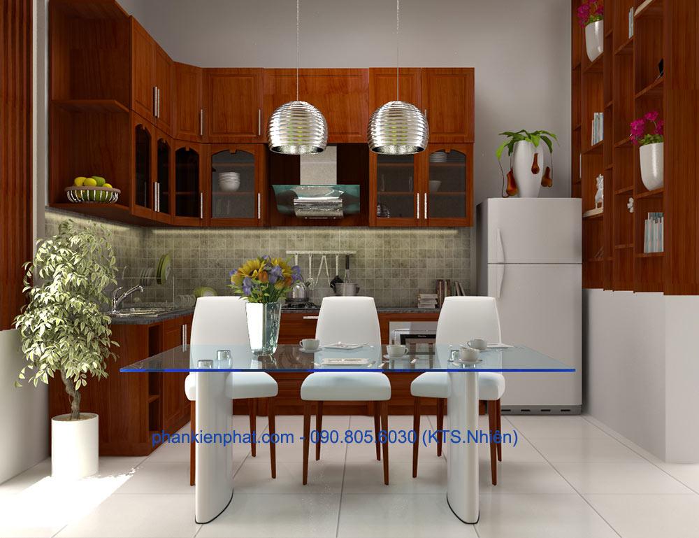 Phòng bếp view 2 của nhà thông tầng 1 trệt 3 tầng
