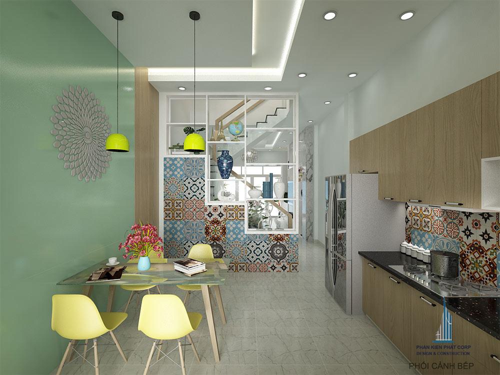 Phòng bếp view 2 của mẫu nhà 4x15m 4 tầng hiện đại