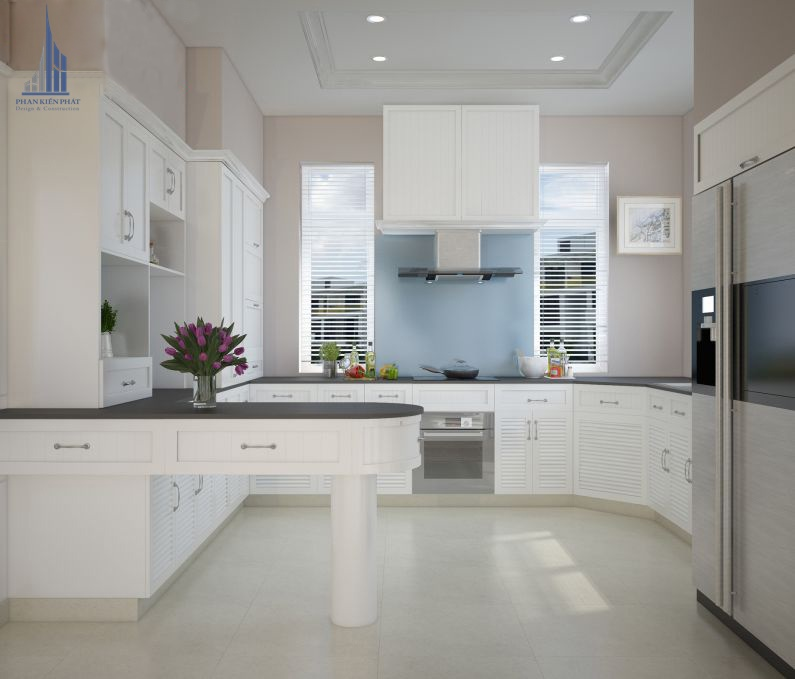Phòng bếp được thiết kế hợp lí khai thác triệt để không gian căn nhà