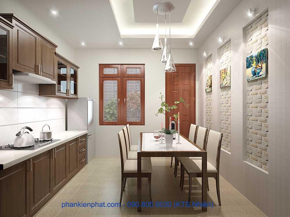 Phòng bếp góc 1 của nhà đẹp 3 tầng