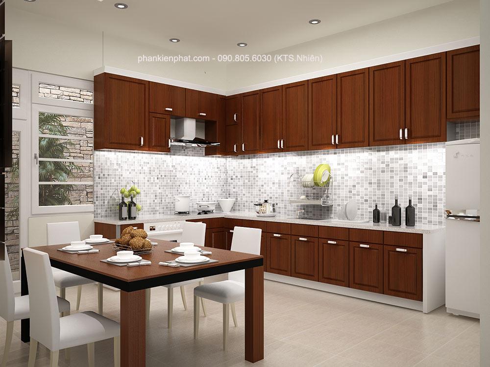Phòng bếp góc 1 nhà 4,4x15m 4 tầng