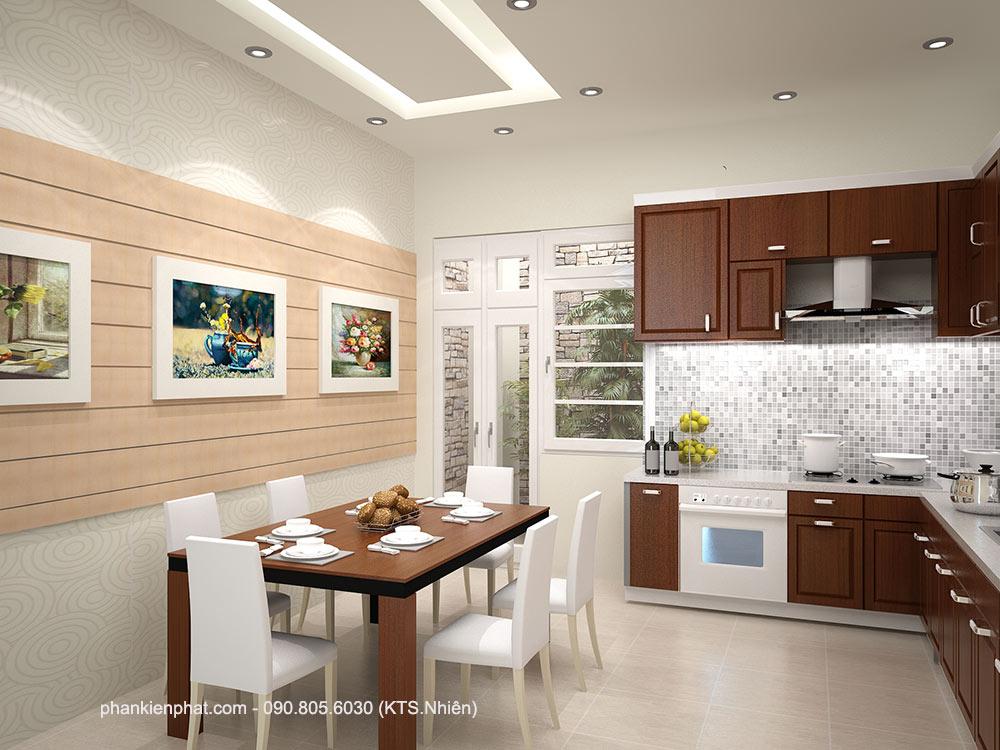 Phòng bếp góc 2 nhà 4,4x15m 4 tầng
