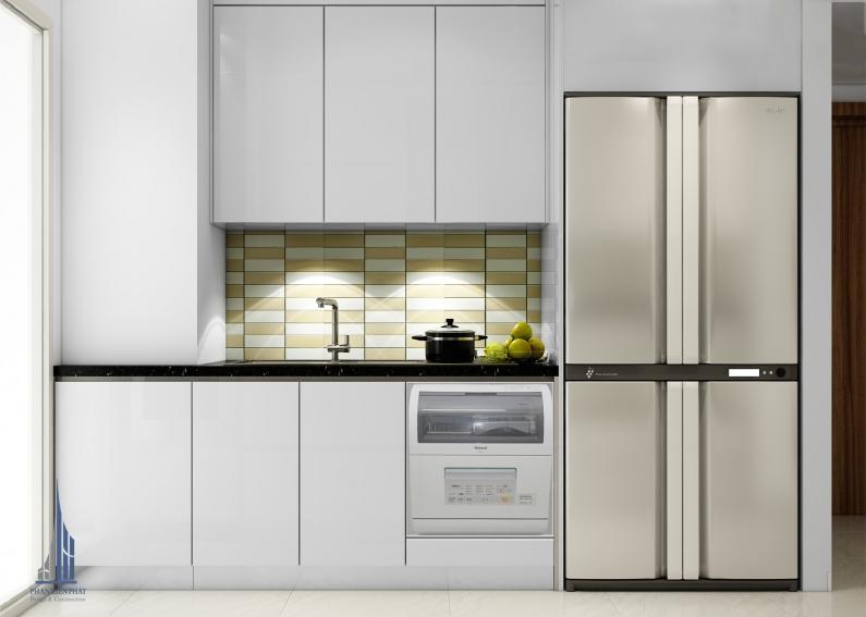 phòng bếp hiện đại kết hợp với phòng giặc để tiết kiệm không gian view 1