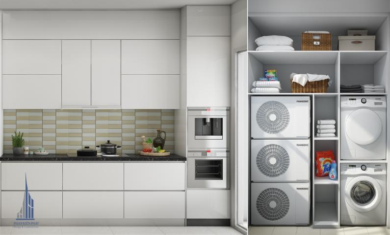 phòng bếp hiện đại kết hợp với phòng giặc để tiết kiệm không gian view 2