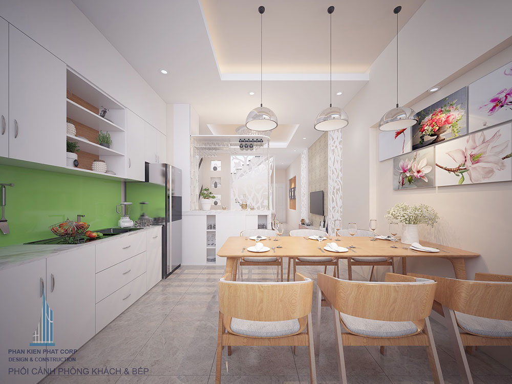 Phòng bếp của nhà phố 4x16m 4 tầng đẹp mắt