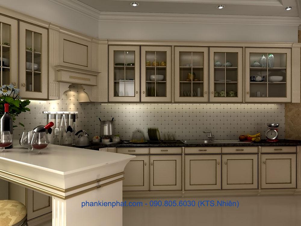Phòng bếp view 1 biệt thự đẹp cổ điển
