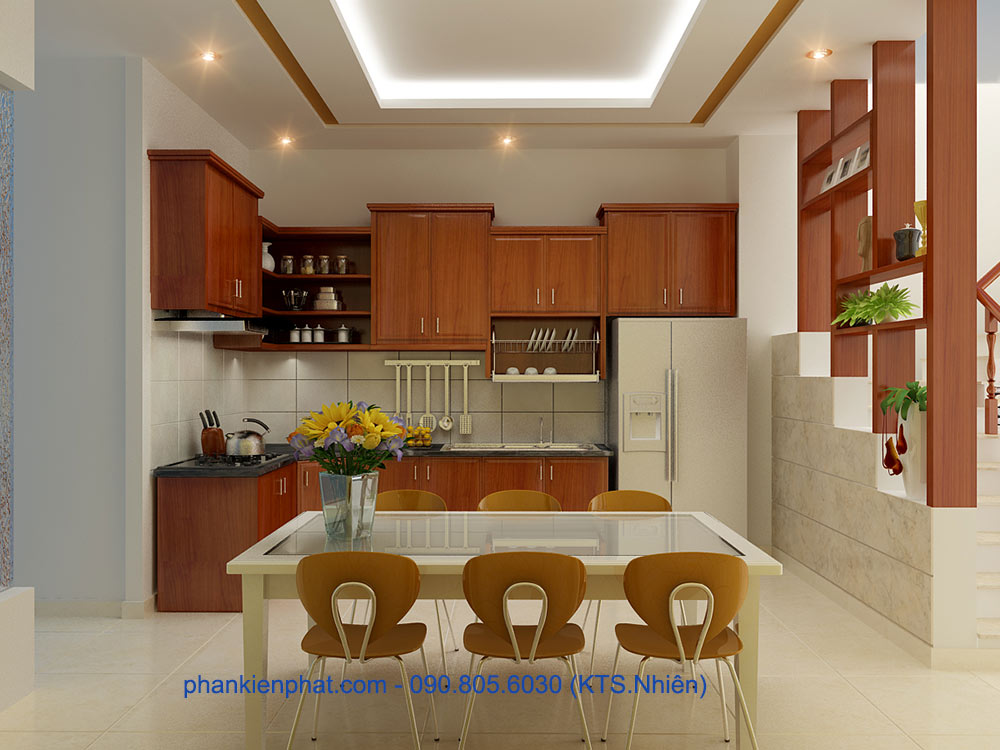Phòng bếp view 1 của nhà 4x20m 3 tầng