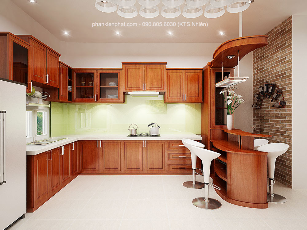 Phòng bếp view 1 nhà 16x7m 4 tầng