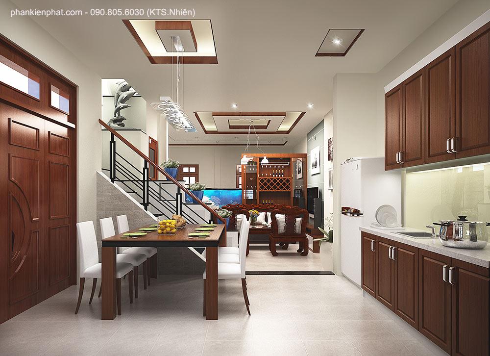 Phòng bếp view 1 nhà mái Thái 2 tầng