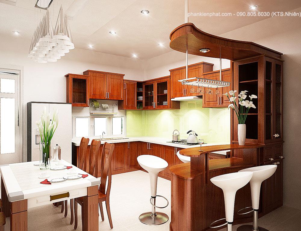 Phòng bếp view 1 của mẫu biệt thự phố 4 tầng hiện đại