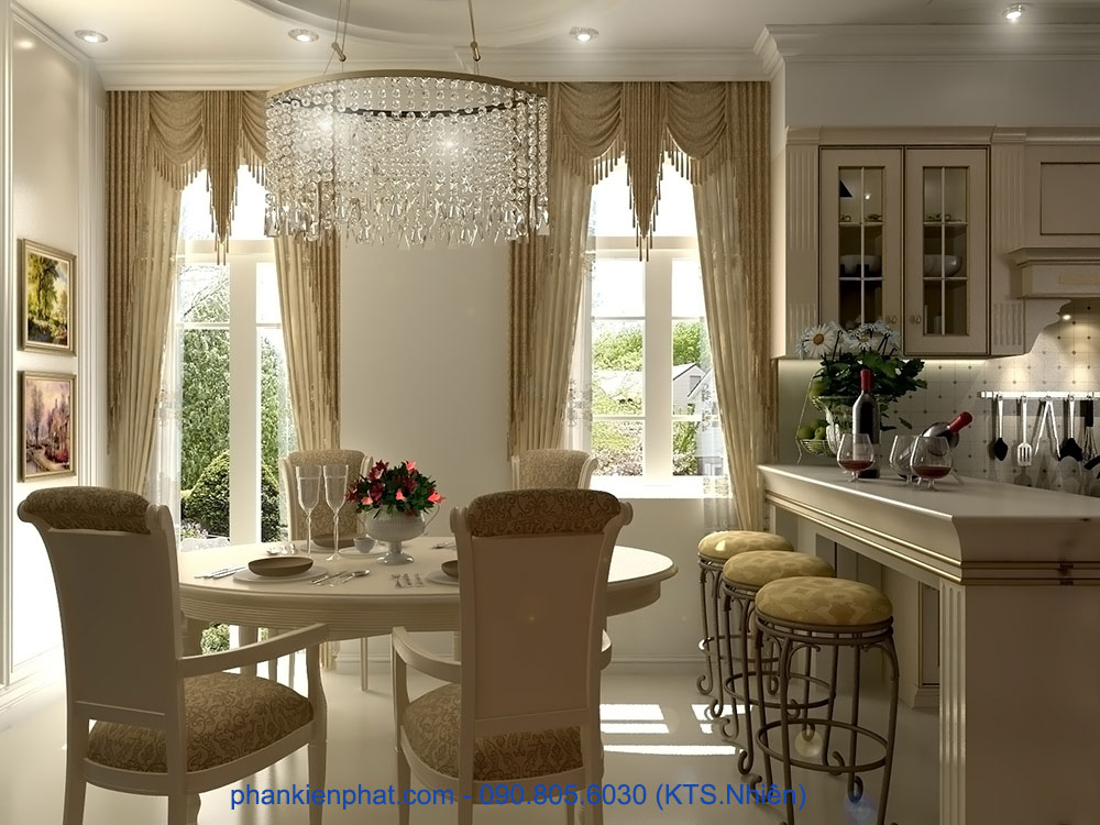 Phòng bếp view 2 của mẫu biệt thự đẹp cổ điển