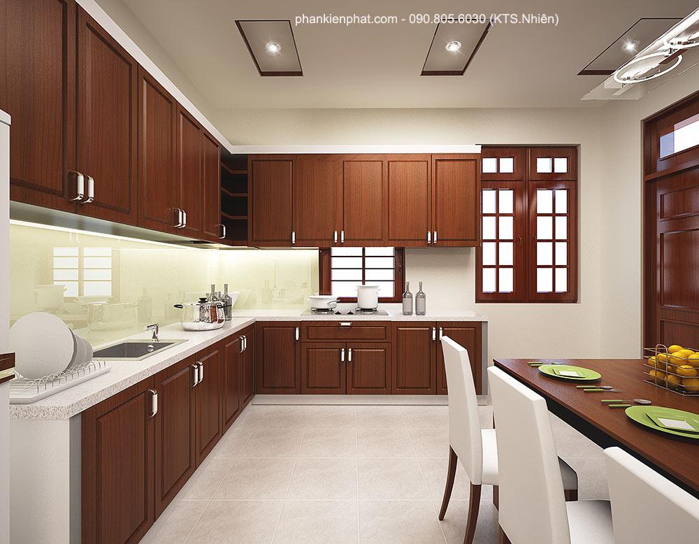 Phòng bếp view 2 nhà bán cổ điển 2 tầng