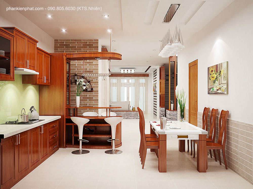 Phòng bếp view 2 nhà phố đẹp 4 tầng