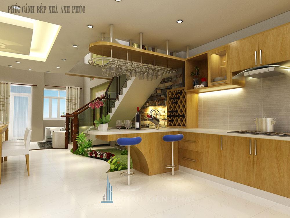Phòng bếp + ăn view 1 của nhà đẹp 3 tầng 5x16m