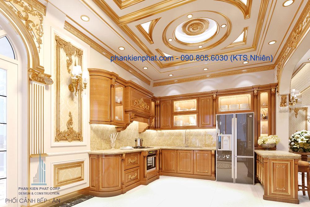 phòng bếp của biệt thự cổ điển 13x20m đẹp