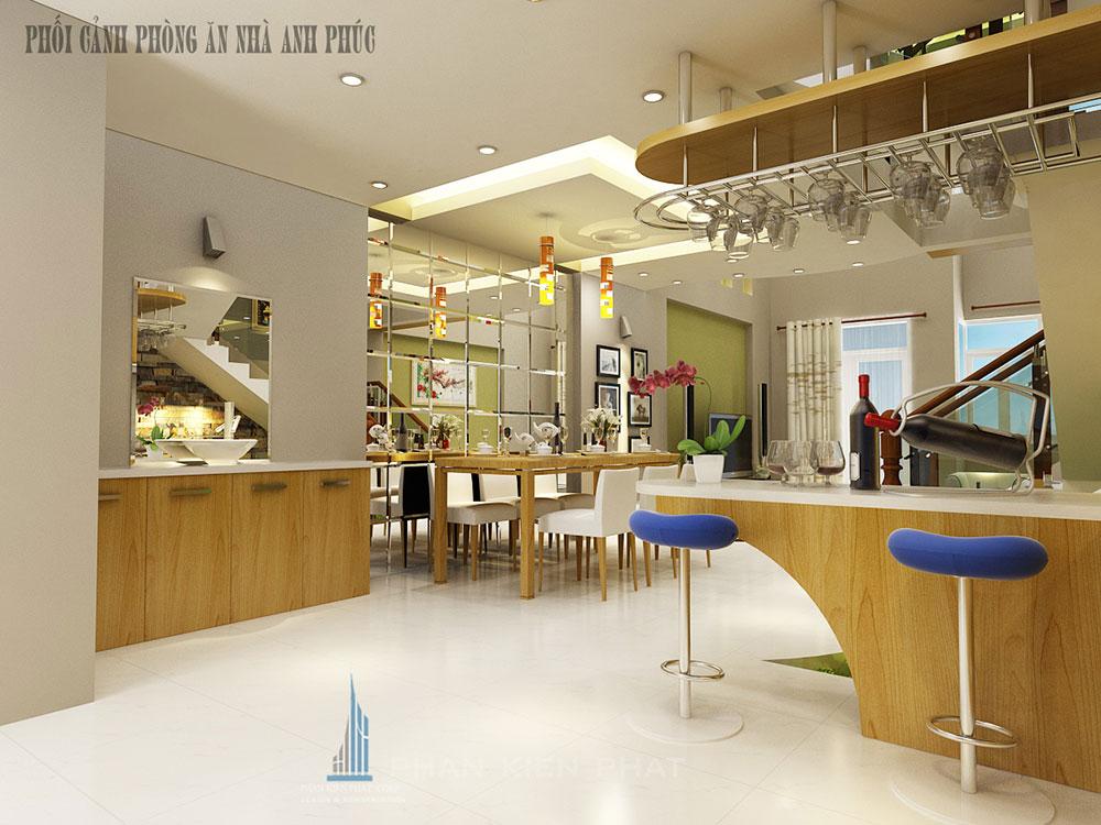 Phòng bếp view 1 của mẫu nhà ống 5x16m 3 tầng