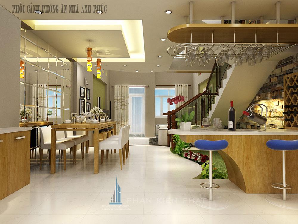 Phòng bếp view 2 của mẫu nhà ống 3 tầng hiện đại