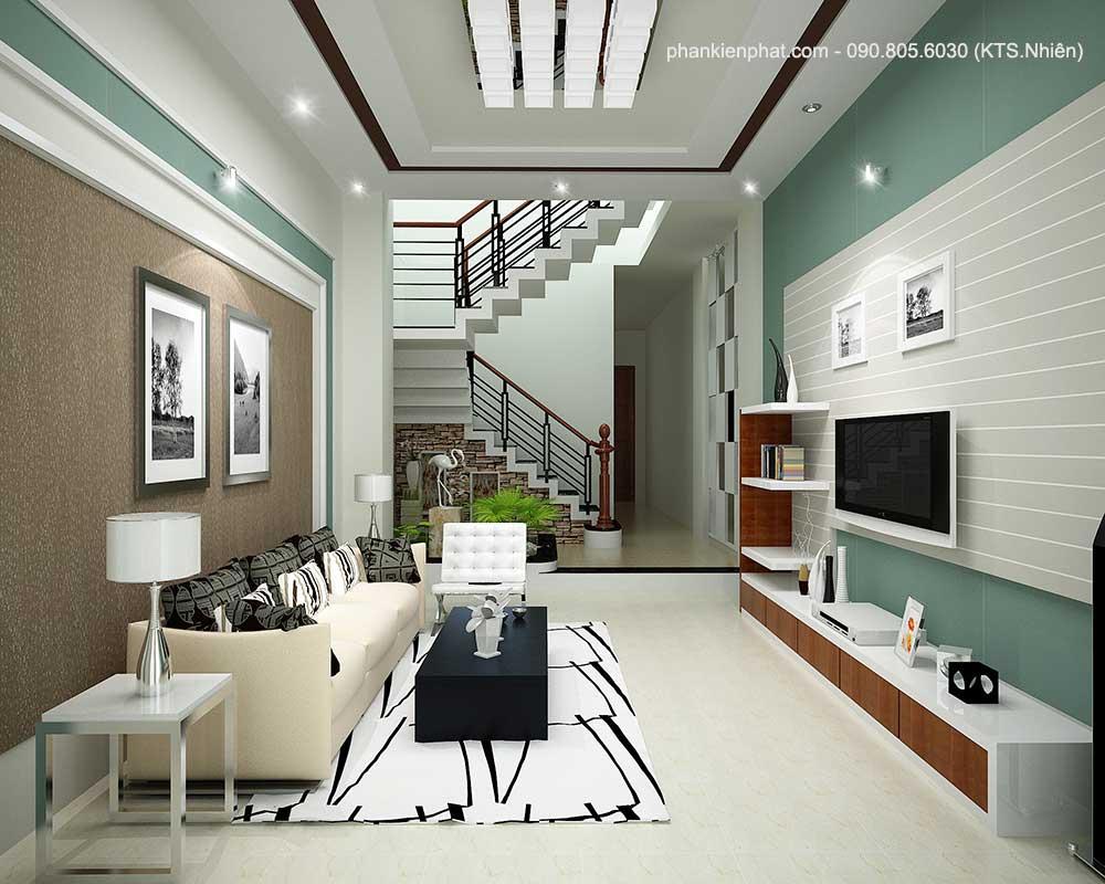 Phòng khách góc 1 nhà 3 tầng đẹp