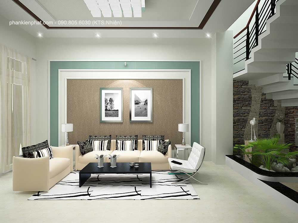 Phòng khách góc 2 nhà 3 tầng đẹp