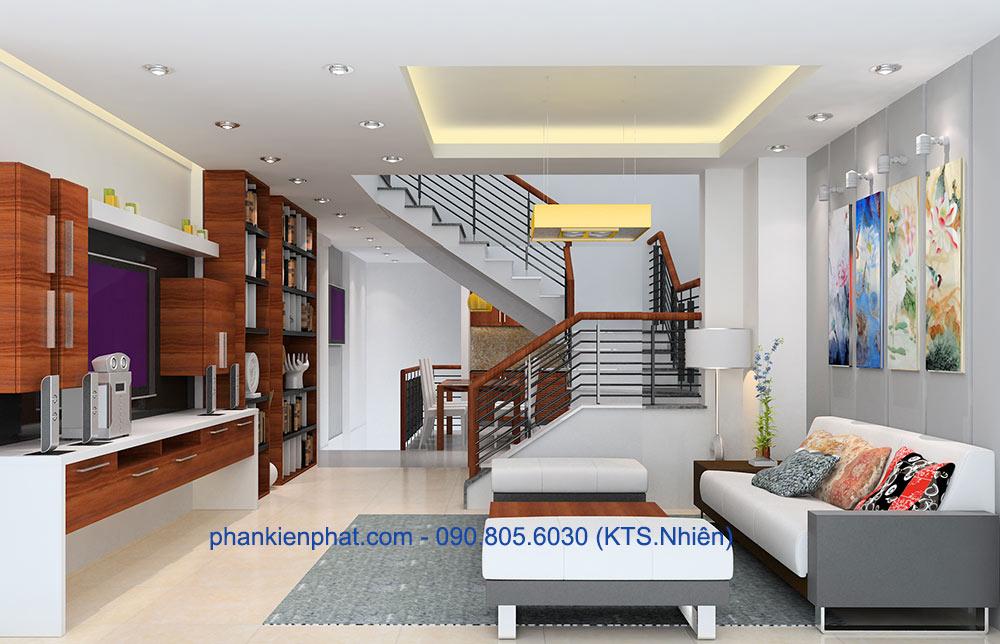 Phòng khách nhà đẹp 4 tầng