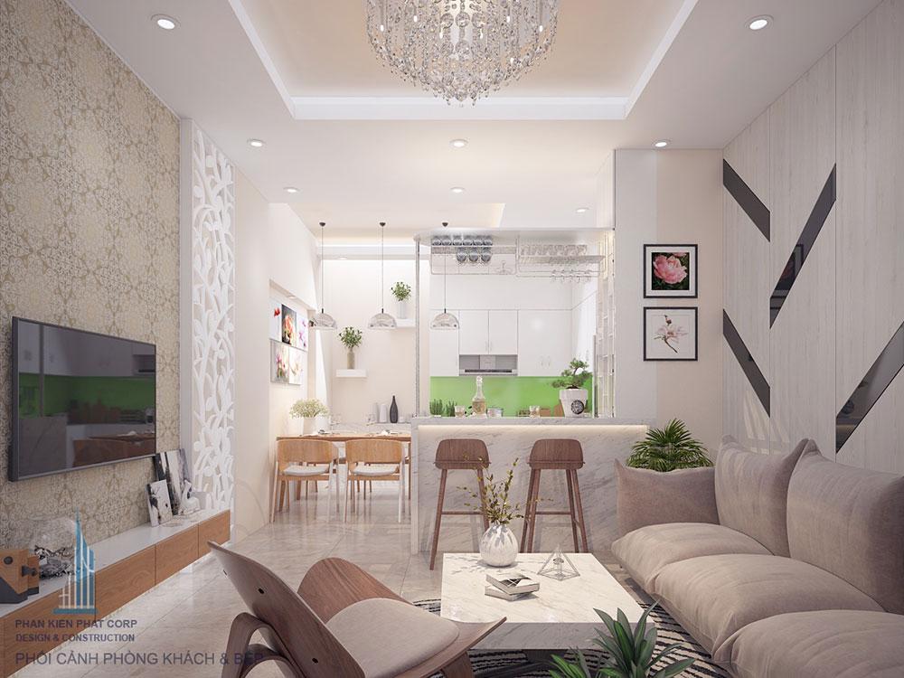 Phòng khách nhà 4 tầng đẹp 4x16m