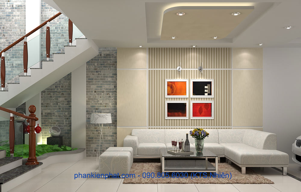 Phòng khách tầng trệt view 2 nhà hiện đại thông tầng