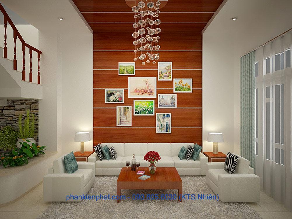 Phòng khách view 1 của mẫu nhà 4x20m 3 tầng