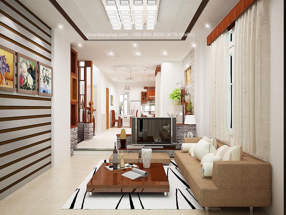 Phòng khách view 1 nhà đẹp 4 tầng 16x7m