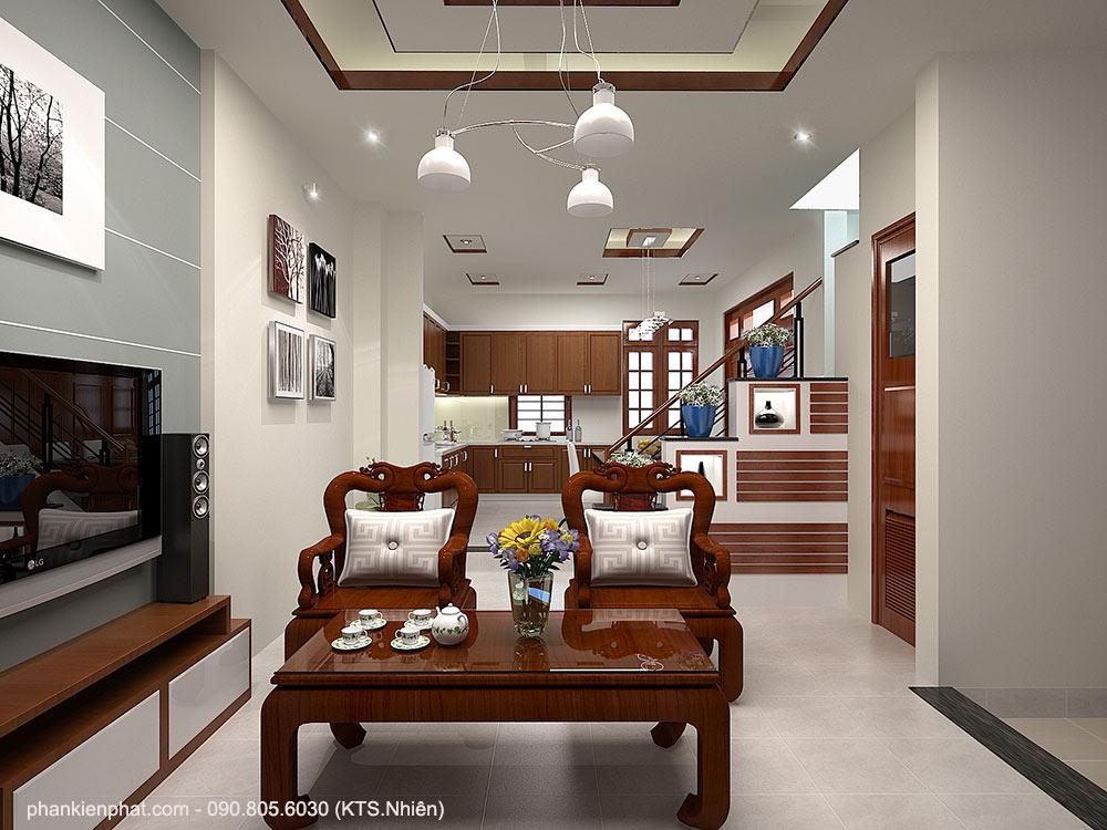 Phòng khách view 1 nhà mái Thái 2 tầng