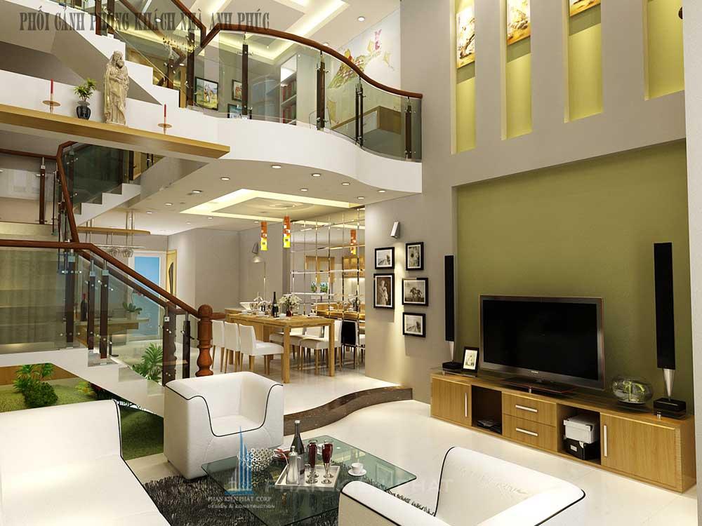 Phòng khách view 1 của nhà đẹp 5x16m 3 tầng