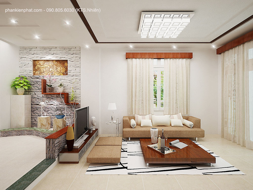 Phòng khách view 2 của nhà 17x6m 4 tầng hiện đại