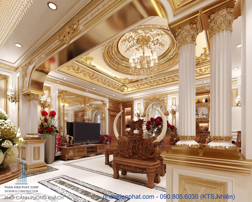 Phòng khách view 1 của mẫu biệt thự cổ điển đẹp