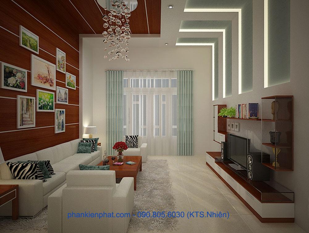 Phòng khách view 2 của mẫu nhà 4x20m 3 tầng
