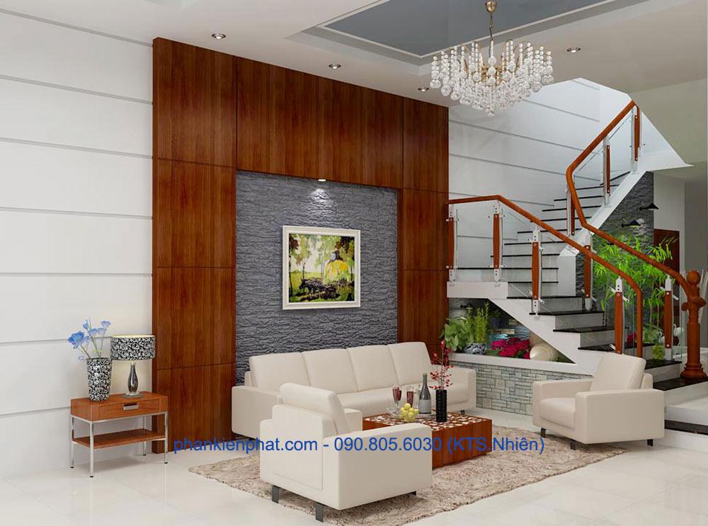 Phòng khách view 2 của nhà phố lệch tầng