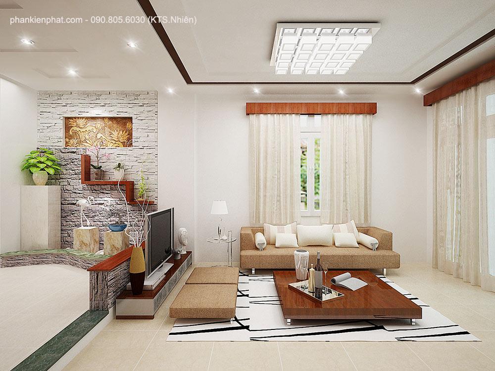 Phòng khách view 2 nhà 3 tầng 1 tum 16x7m