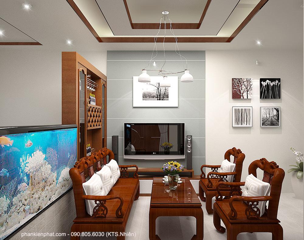 Phòng khách view 2 nhà bán cổ điển 2 tầng 11x6m