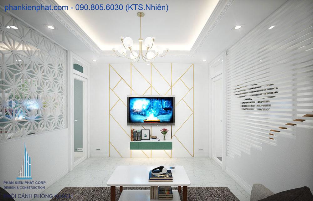Phòng khách view 3 nhà ống hiện đại 4 tầng