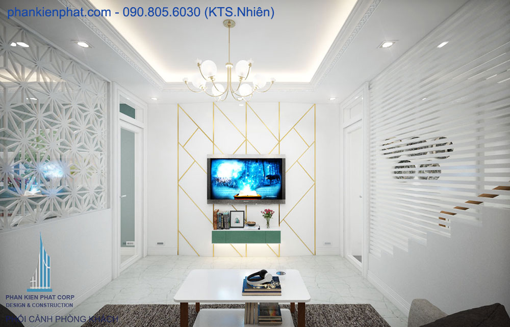 Phòng khách view 3 nhà đẹp 4 tầng