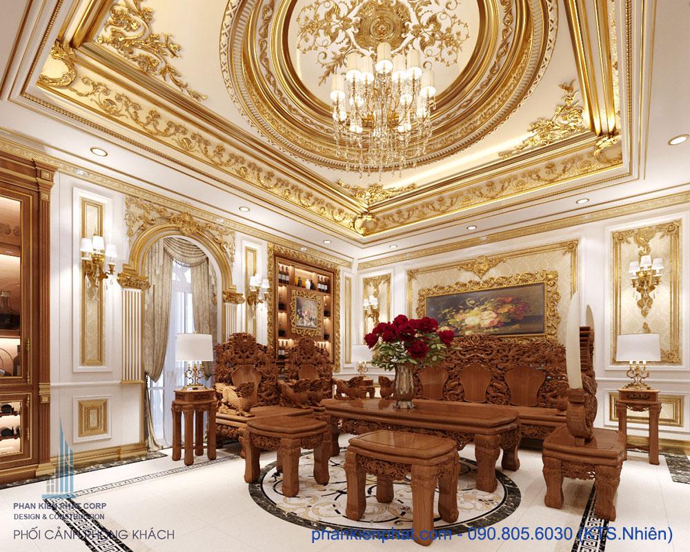Phòng khách view 2 của bản vẽ biệt thự đẹp