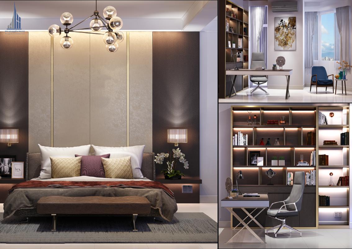 Phòng ngủ được thiết kế hợp lí tiện nghi