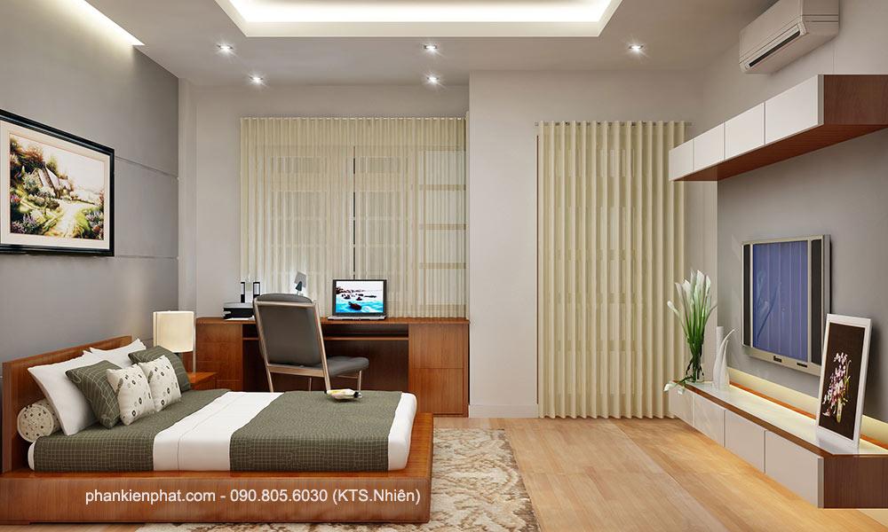 Phòng ngủ 1 góc 1 của mẫu nhà 4 tầng 4,4x15m