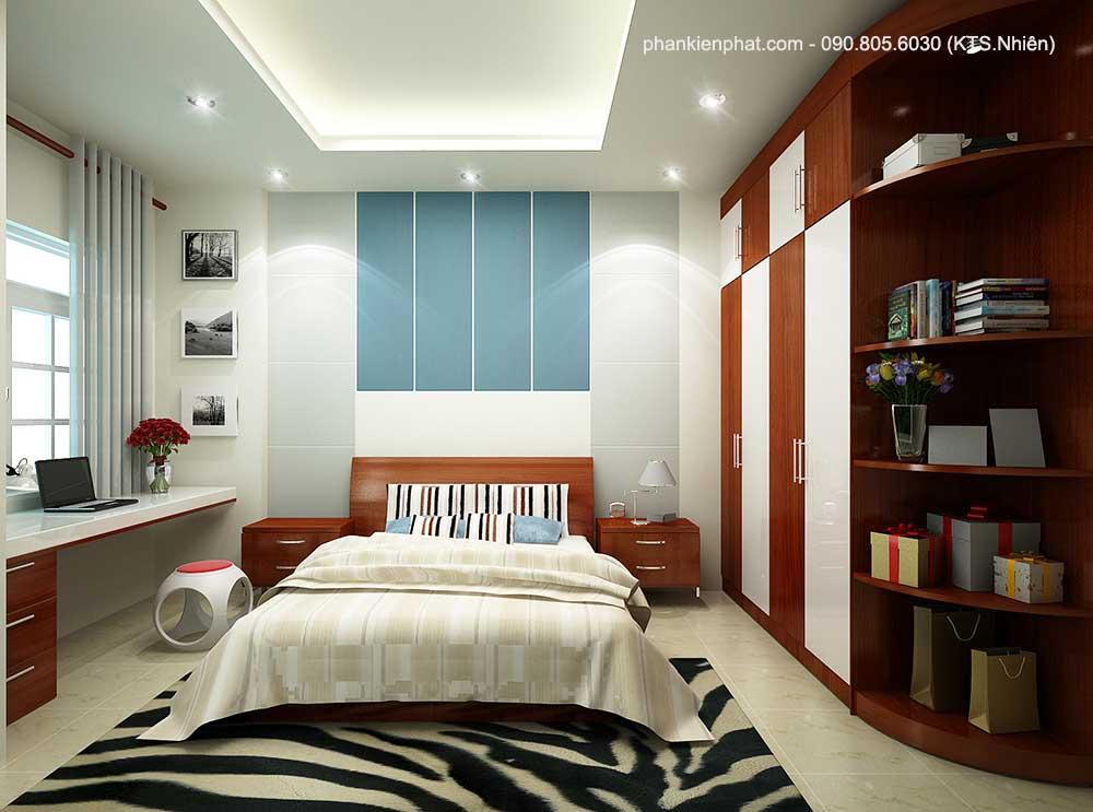 Phòng ngủ 1 view 1 nhà phố đẹp 3 tầng 4x13.6m