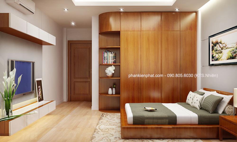 Phòng ngủ 1 góc 2 của mẫu nhà đẹp 4 tầng