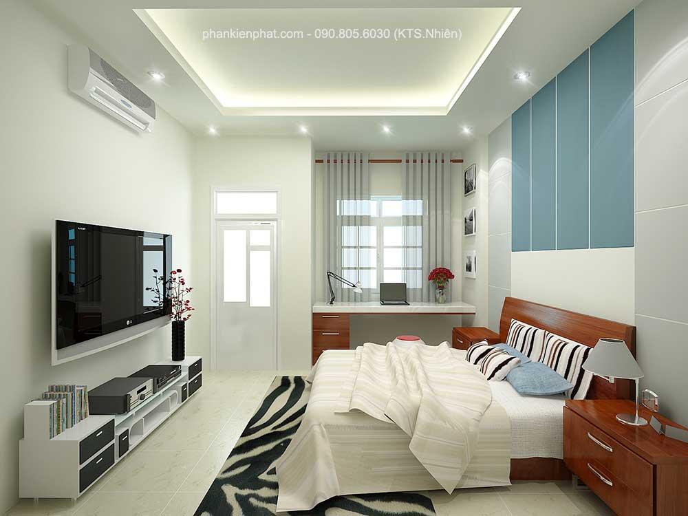 Phòng ngủ 1 view 2 nhà phố đẹp 3 tầng 4x13.6m
