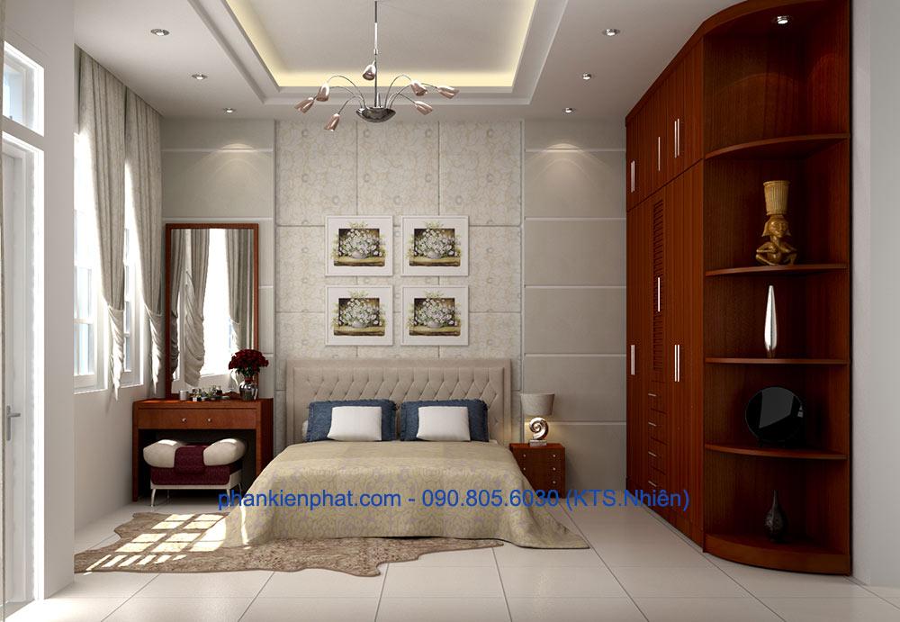 Phòng ngủ 1 view 1 của nhà ống hiện đại 4 tầng 4.5x20m