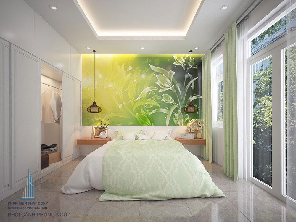 Phòng ngủ view 1 của nhà đẹp 4x16m 4 tầng